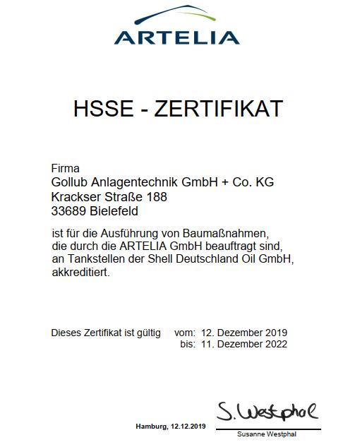 HSSE Zertifikat