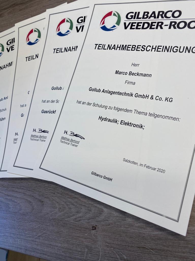 Gilbarco Zertifizierung für Hydraulik und Elektronik