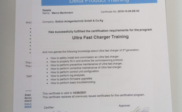 Ultra Fast EV Charger Training Certificate